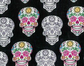Sugar Skull Color and Gray Fabric By The Yard