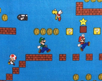 Nintendo Super Mario Borthers Action Fabric By the Yard