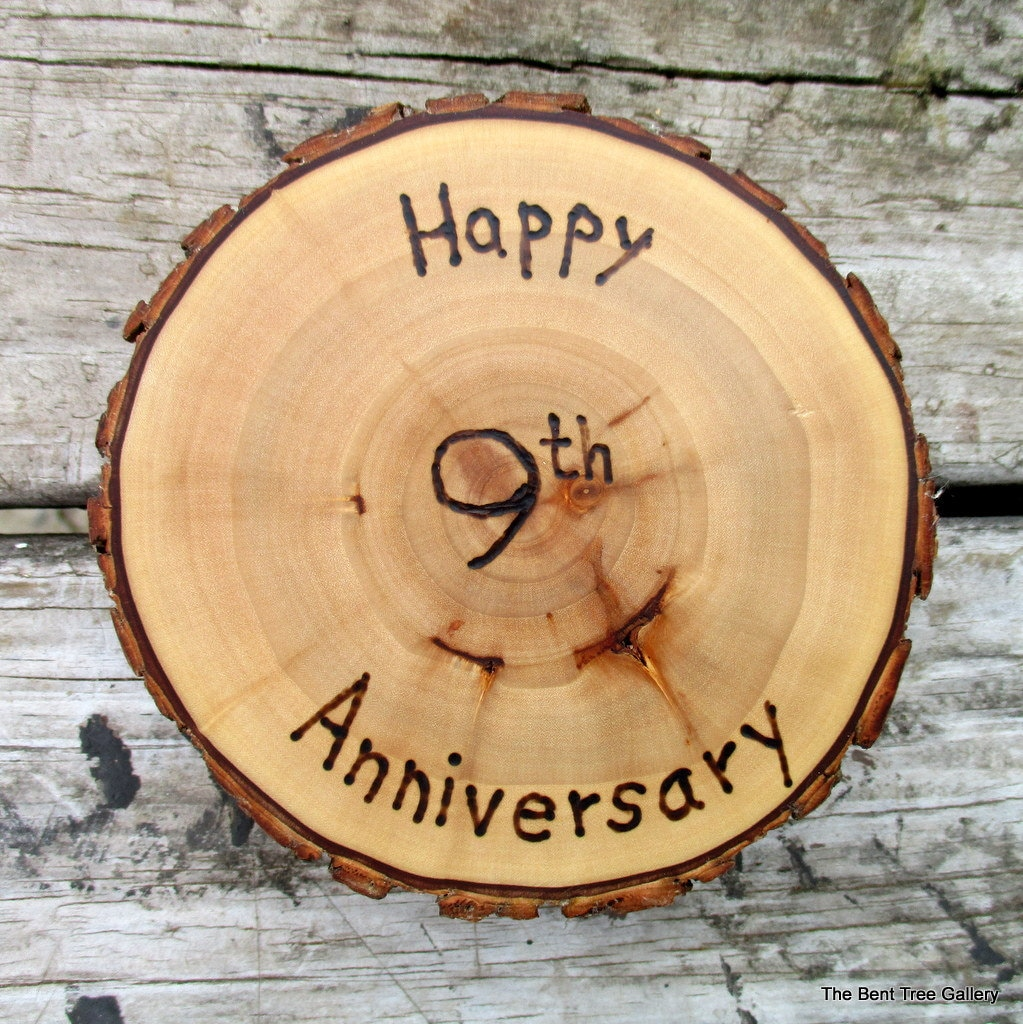 9th Anniversary Gift Willow Medallion With Wood Burned