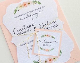 Vintage Floral Wedding Invitation, Elegant Wedding Invitation, Watercolor Wedding Invitation, Romantic Wedding, Blush - Penelope Sample