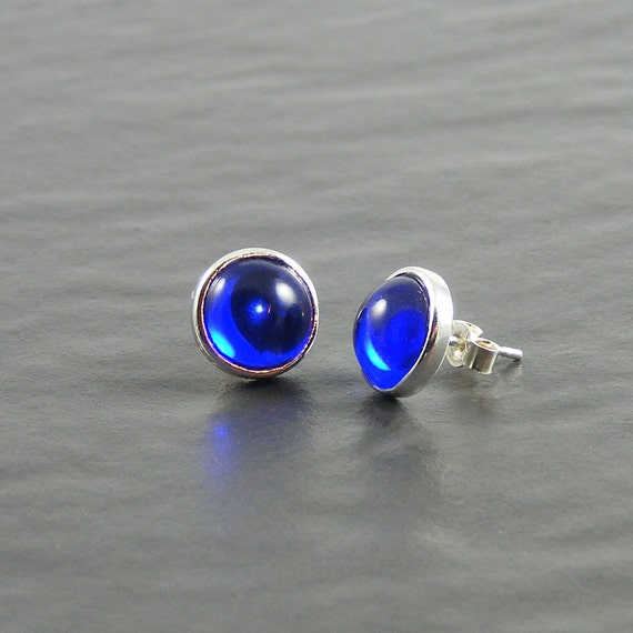 Sapphire Blue Post Earrings by Erika Price Jewellery