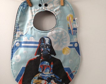 Darth Vader Baby Gift - Toddler Sized Bib from Vintage Bed Sheets - Star Wars Baby - Darkside Baby Gift - Oversize Bib with Snaps