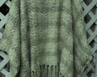 Free Size Caftan/  Nubby Weave, Light Weight Luscious Green Tunic/ Stadium Cover Up/ Shabbyfab Funwear