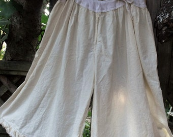 Plus Size Culotte Style Bloomers/Cream Cotton Muslin/Ruffle Hem/Cropped Wide Leg Pants