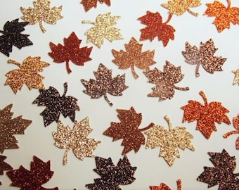Fall Table Decorations, Leaf Confetti, Glitter Leaves, Fall Wedding Decor, Wedding Reception, Bridal Shower Brown Orange Yellow Leaves