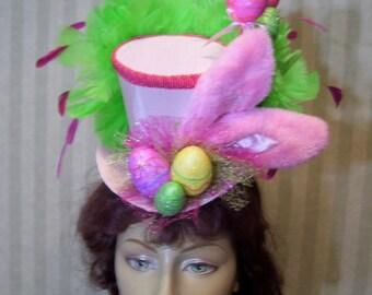 Easter Hat, Alice in Wonderland Mini Top Hat, Mad Hatter Tea Party, Lolita Easter Hat, Bunny Ears, Eggs