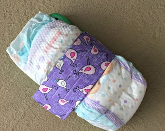 Purple Birdie Diaper Strap