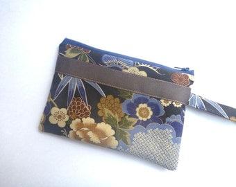 Japanese fabric, brown zipper pouch, travel pouch, cosmetic bag, zipper clutch, makeup bag, coin purse, wallet clutch, Geisha, gift for her