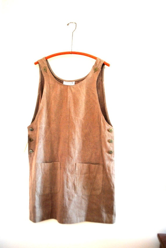 Classy vintage 90s taupe denim jumper boxy dress. Made by
