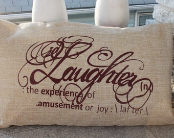 LAUGHTER PILLOW COVERS - Jute Silk Pillow Cover - Screen Printed - Ready To Ship - 16 x 26