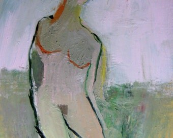 Abstract Nude,  original oil painting on Canson paper