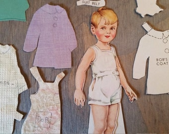 Vintage Boy Paper Doll with Handmade Clothes and Patterns..1930's Paper Ephemera, 1930's Americana Pastime, Altered Art Mixed Media