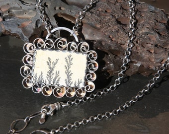 dendritic limestone and sterling silver pendant necklace