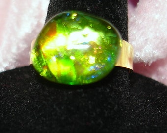 Green Handmade Fused Dichroic Glass Cab Ring - R139
