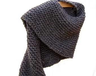 Chunky Knit Shawl - Womens Knit Wrap - Winter Shoulder Warmer - Boho Clothing - Brown Shawl