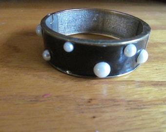 black with white spots bracelet