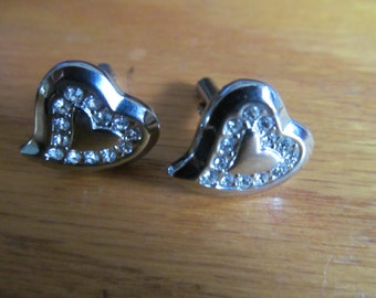 Rhinestone heart cuff links