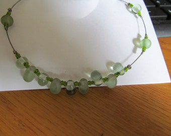 Green glass tear drop illision necklace