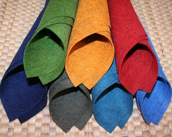 7pc A4 sheets 100% pure new merino wool felt - Natural Fleck colours, DIY, Oeko tex certified, New product