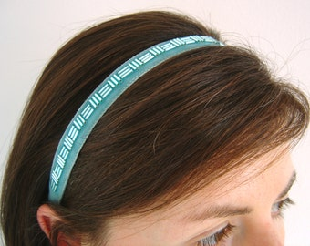 Aqua Velvet Headband, Bridesmaid Headband, Beaded Aqua Ribbon Hairband, Womens Elasticated Headband, Retro Style Hairband, Narrow Headband