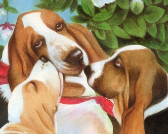 Basset Mother Love and Puppies signed Print Free Matching Card