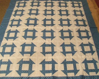 "Vintage Churn Dash Quilt Top. 62x70"". Extra Fabric"