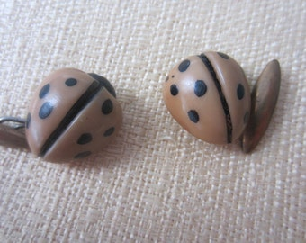 Vintage Buttons - Cottage chic 2 cute lady bug old and sweet(sept 51b)