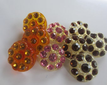 Vintage buttons, lot of 9 assorted, acrylic with assorted color rhinestones, flower design (oct 95)