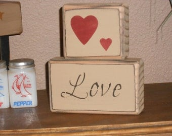 Love  -   shelf sitter with hearts   Valentines