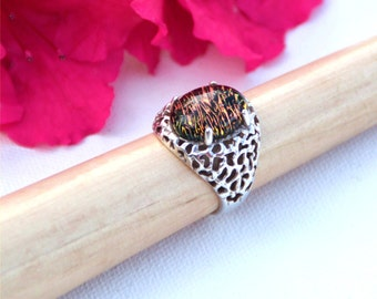 012 Fused dichroic glass ring, sterling silver, size 10, with red brown striped cabochon in the pronged setting.