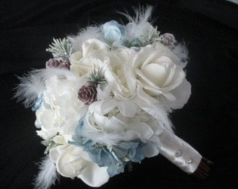 Package Real Touch CreamWhite Roses and Silk Peonies Feathers Winter Bridal Bouquet Set