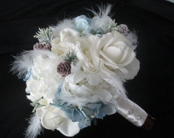 Reserved custom order listing for......Donna Zdan....Real Touch CreamWhite Roses and Silk Peonies Feathers Winter Bridal Bouquet Set