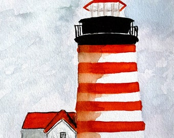 Fine Art Giclee Print of West Quoddy Head Lighthouse watercolor painting - Wall Art, Home Decor, Beach, Nautical