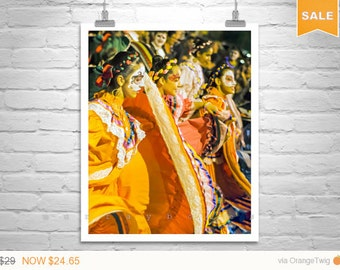 Sale 15% Dia de los Muertos, Art Print, Folklorico Dancing, Mexican Art, Hispanic Art, Day of the Dead, Tucson All Souls, Street Photography
