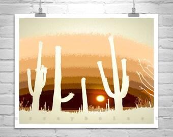 Cactus Art, Western Print, Desert Photo, Arizona Landscape, Saguaro Cacti, Silhouette Art, Sunset Art, Digital Art, Western Picture