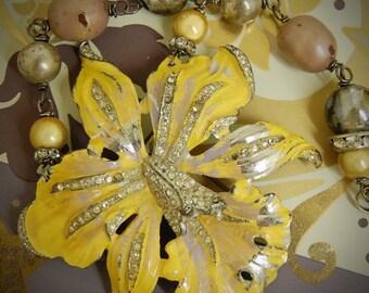 Dancing on Air Iris-Antique Vintage Enamel & Rhinestone Dress Clip Assemblage Necklace