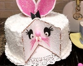 Fake Cake ~ Faux Cake ~ Artificial Cake ~ Playful Easter Bunny Faux Cake ~ Coconut Bunny Cake ~ Fake Food ~ Display Cake ~ Home Staging Food