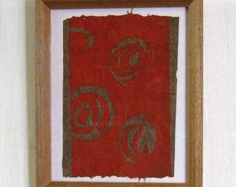 "Canemah Studios ""Orange Swirls"" Hand Pulled Relief Print on Handmade paper Framed"