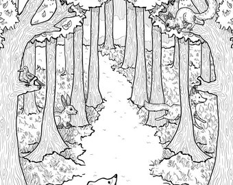 Woodland Adventure Colouring Page DOWNLOAD