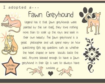 "I adopted a... Fawn Greyhound - 6x8"" Print"