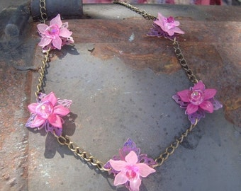 Annual Baby Sale Pink Princess Orchid Lei  Vintage Lucite Flowers on Brass chain
