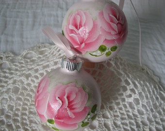 Glass Ornaments Hand Painted Pink Roses, Glitter Shabby 2 pc set