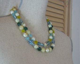 Vintage Two Strand Blue Yellow and Green Glass and White Textured Plastic  1950s Necklace