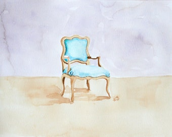 The Lone Blue Chair, Original Watercolor Painting