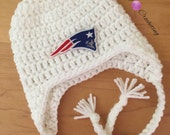 Newborn earflaps hat... Patriots hats... Photography prop... Ready to ship