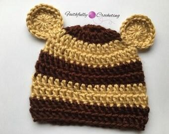 Newborn bear hat.. Brown bear.. Photo prop.. Ready to ship.. Newborn boy hat