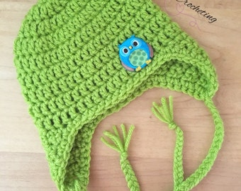 Newborn earflapd hat... Owl hat... Ready to ship.. Photography prop
