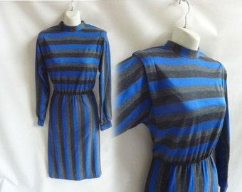 Vintage 70s Dress size L Gray Blue Stripe Disco Secretary Dolman Sleeve Frock