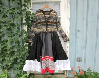 Plus Size Embroidered Bohemian Reconstructed Cardigan Sweater Dress// emmevielle