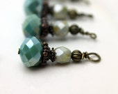 Vintage Style Opaque Green Crystal Rondelle and Czech Bead Dangle Drop Set